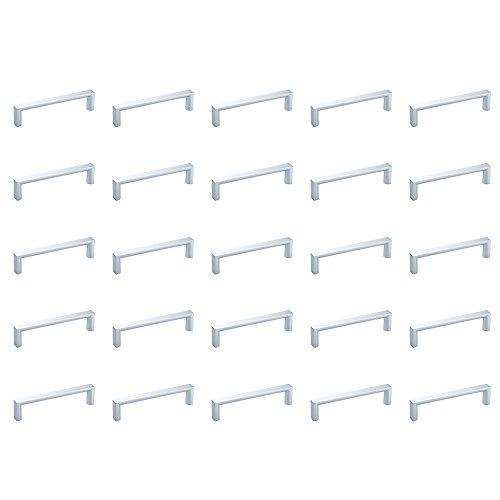 Emuca 9160425 Tiradores para Muebles, Plata, 96 mm, Set de 25 Piezas