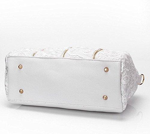 Baguette Leder Messenger Tote Bag PU Schultertasche Weiss Yisidoo Damen Lace Handtasche weich Schwarz Wwqq1HpR