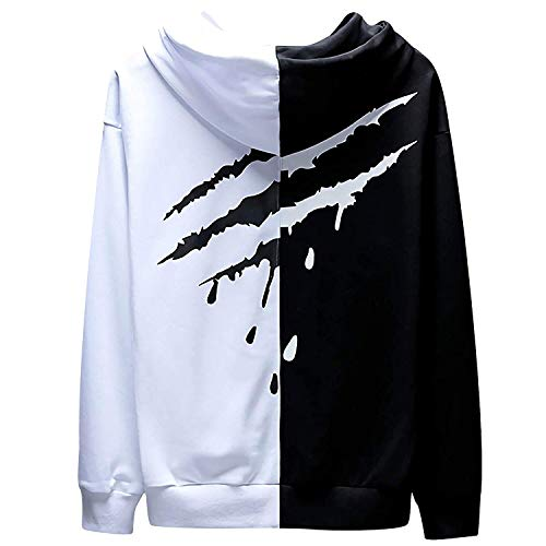 XIAOYAO Herren Basic Kapuzenpullover Sweatjacke Pullover Hoodie Sweatshirt (M(Höhe:165-170CM-Gewicht:50-55KG), Weiß schwarz 2)