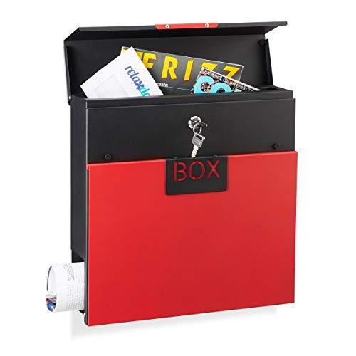 Relaxdays Briefkasten Edelstahl, mit Schloss, mit Zeitungsrolle, Din A4, Design Postkasten, HBT: 37 x 37 x 11 cm, rot