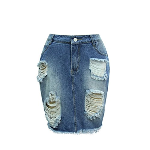 ZKOO Gonna Di Jeans Minigonna Di Jeans Elasticizzato Con Elementi Effetto Destroyed