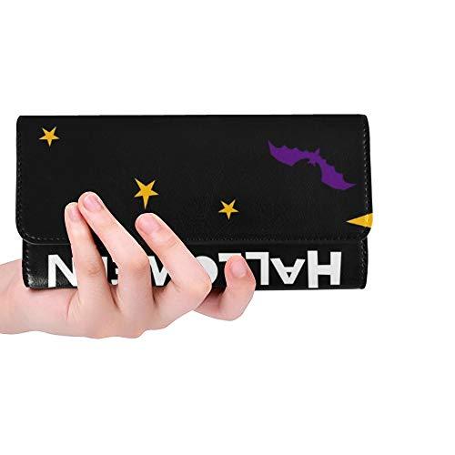 Einzigartige glückliche Halloween-Karten-Schablonen-abstrakte Halloween-Frauen-dreifachgefaltete Geldbörsen-Lange Geldbeutel-Kreditkarte-Halter-Fall-Handtasche (Kreditkarte Kostüm)