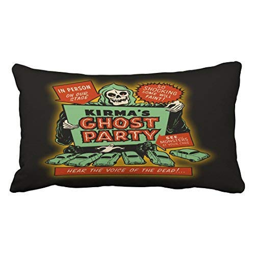Xdevrbk Custom Halloween Vintage Spook Show Poster Art Kirma Ghost Party Throw Pillow Covers Cushion Cover Case 20X30 Inches Pillowcases Two Side