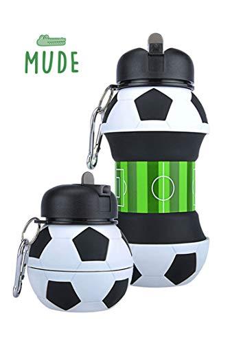 Mude-Borraccia Calcio-550 millilitri-Divertente e Indistruttibile, In Silicone Apribile e Richiudibile, Antigoccia-Senza BPA-Per Ragazzo e Ragazza-Idea regalo e Scuo