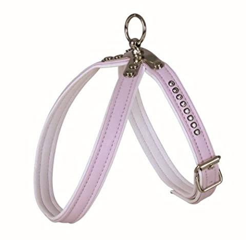 Trixie Rhinestones Dog Harness with Adjustable Stomach Strap, Small-Medium, Pink/White