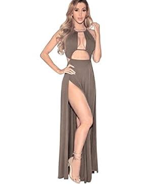 Ouneed Mujeres bodycon Slim noche sin mangas de fiesta lápiz largo vestido