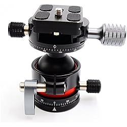Koolehaoda E2 Ball Head Double tête panoramique Avec plaque de déclenchement rapide pour trépied d'appareil photo, poids net seulement 280G, Charge maximale: 12 kg  (E2-Panoramic Head)