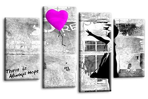 Le Reve Canvas Art Banksy Leinwandbild, Motiv: Mädchen mit Luftballon, Peace Hope Love Graffiti, Rosa/Grau