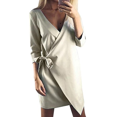 Preisvergleich Produktbild Longra Damen Asymmetrisch Einfarbig Business Kleid Etuikleid Bleistiftkleid Langarm Kleid Knielang Damen Herbst Winter Casual Party Mini Kleid Tunika mit Bandage (L, Khaki)