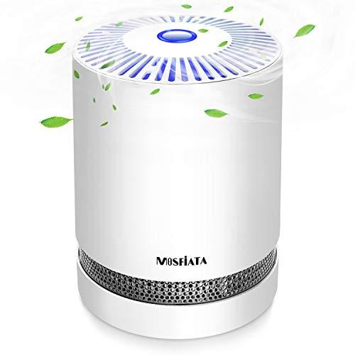 Luftreiniger MOSFiATA Air Purifier mit HEPA-Kombifilter & Aktivkohlefilter, 3-Stufen-Filterung für 99,97% Filterleistung und Nachtlicht, gegen Staub Pollen Tierhaare, für Allergiker Raucher