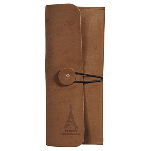 Retro Eiffel Tower Leather Purse Wallet Cosmetic Makeup Pen Bag,Tan