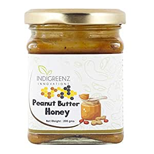 INDIGREENZ Peanut Butter Honey Sweetened with Raw Organic Honey, Creamy, 200 gm (Protein Rich, Non GMO, Energy Booster, Mood Enhancer)