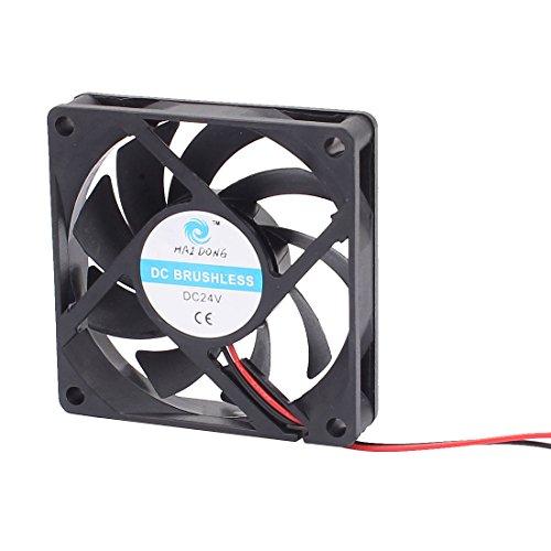 sourcingmap® DC 24V 70mmx70mmx15mm 9 paletas de ventilador del radiador de refrigeración...