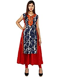 Om Trading Printed Red and Indigo Cotton Kurti For Women