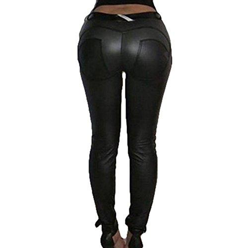 Damen Leggings Leder Strumpfhosen Treggings Hose Skinny Kunstleder PU Lederhose Leggins Yoga Hosen Schwarz S hibote