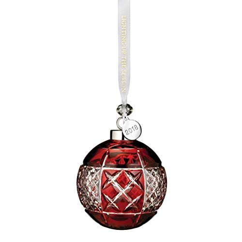 Waterford Crystal Ball (Waterford 2018 Annual Red Ruby Ball Crystal Christmas Tree Ornament Decoration)