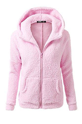Le Donne Sono L'inverno A Maniche Lunghe Scollato Plain Incappucciato Ispessimento Cerniera Cappotto Con Le Tasche Pink