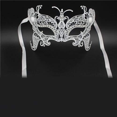 TWELVEMJ Maske Schmetterling Diamant Laser Cut Venezianische Maskerade Filigran Gold Silber Schwarz Metall Maske Party Ball Weiss Hochzeitsshow, Weiss (Und Gold Maskerade Weiß Masken)