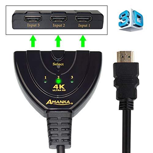 4K HDMI Switch,AMANKA 3 Port HDMI Umschalter,3D 4K HDMI 3 IN 1 Out für TV Stick, DVD, HDTV, PS4 usw Schwarz