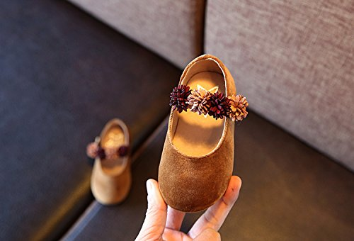Eozy Mädchen Prinzessin Schuhe Blume Schuhe Ballettschuh Ballerina Braun
