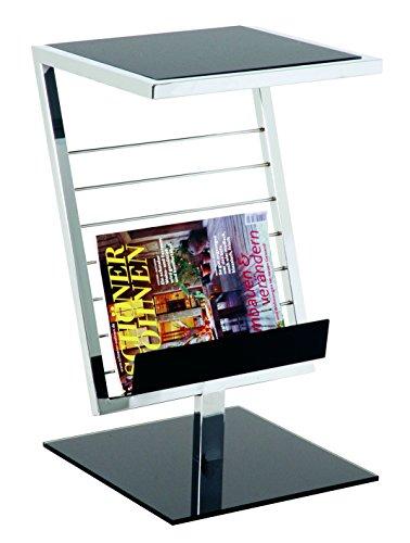 HAKU Möbel 89554 Beistelltisch 36 x 30 x 60 cm, chrom / schwarz