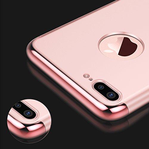 VemMore Coque iPhone 8 Plus Rigide 3 en 1 Dur Hard [ Ultra Fine ] Luxe Mat Dure de Protection Plastique Slim Mince Plastic Hybride Antichoc Case Bumper Housse Cas pour iPhone 8 Plus --- ( Rose Gold ) Rose Gold