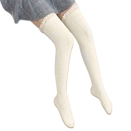 Minzhi Frauen Jacquard Lace Trim Baumwolle Knit Footed Bein Boot ¨¹ber Knie Strumpf (Lace Short Knit Trim)