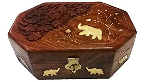 Gift for Christmas or Birthday to Your Loved One Special Wooden Handcrafted Indian Jewelry Box Brass Inlay Unique Elephant with carving 8 X 5