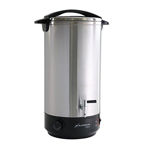 Glühweinkocher 22 Liter Heißgetränkespender + Edelstahlgehäuse-ideal als Heisswasserspender o. Glühweintopf mit Metall Auslaufhahn - Leistung 1650 Watt