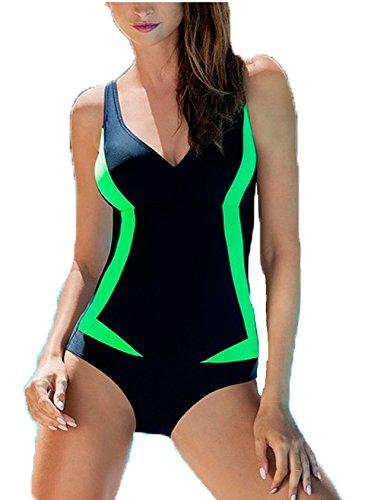 AQUA-SPEED® GRETA Badeanzug Frauen (3 Farbkombinationen Größen 36-48), Farbe:Schwarz-Grün;Größe:36