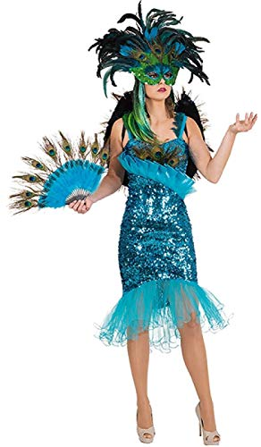 O9231-44 Damen Pfauen Kostüm Kleid ()