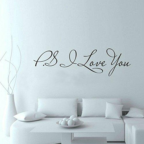 WDQTDW Wandaufkleber Wall Sticker Ps Ich Liebe Dich Wall Art Aufkleber Home Decor Berühmten & Inspirational Quotes Wohnzimmer Schlafzimmer Abnehmbare Wand Aufkleber - Wand-aufkleber Inspirational Quotes