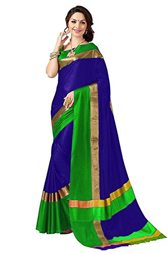 PerfectBlue Women's With Blouse Piece Saree (VisvaVariation_Viloetbrown_Free Size)