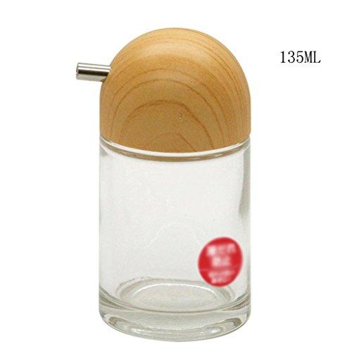 ZHAOJING Sazonador Botella Salsa de Soja Botella de Vinagre de Vidrio Sal Botella de Pimienta Botella Botella Dispensador Caja Set (Capacidad : 135ml)