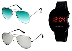 Younky Combo Offer of Branded UV Protected Stylish Aviator Sunglasses For Men Women Boys And Girls With Digital LED Watch ( GrnGrdnt-SM-ALed ) - 2 Sunglass Case