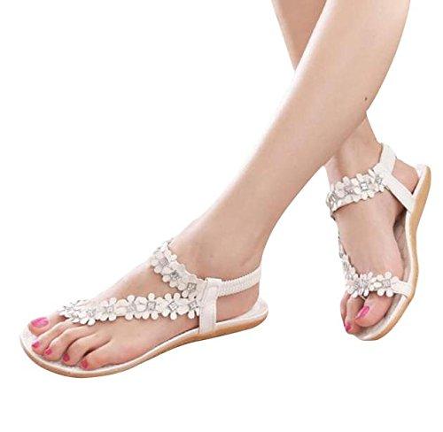 Damen Sandalen, Dasongff Frauen Elastischen Sandalen Böhmen Blume Perlen Flip-Flop Schuhe Flachen Sandalen T-Strap Freizeitschuhe Geflochten Strand Schuhe Sommer (39, Weiß)
