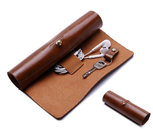 BoomYou Leder Geldbörse Roll Up Fall Stift Fall Lagerung Roll Tasche Bleistift Hülle Schlüsselhalter für Oberfläche / iPad Touch Pen Datenkabel Make-up – Leder Kreative Persönlichkeit Retro Style – Braun