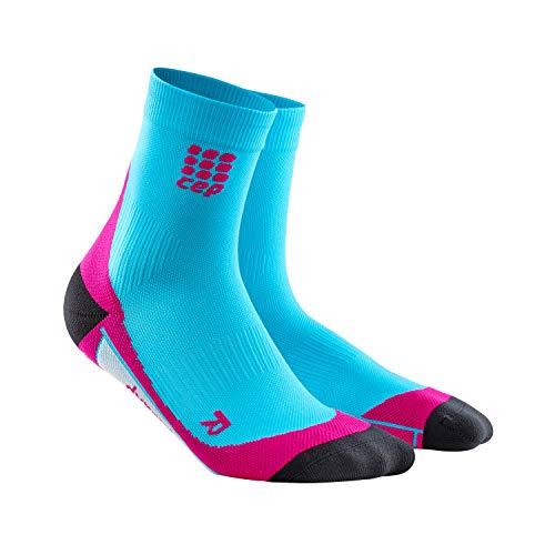 CEP - Short Socks 2.0 für Damen | Kurze Laufsocken mit Kompression in blau/pink | Größe IV (Radfahren Kompression Socken)