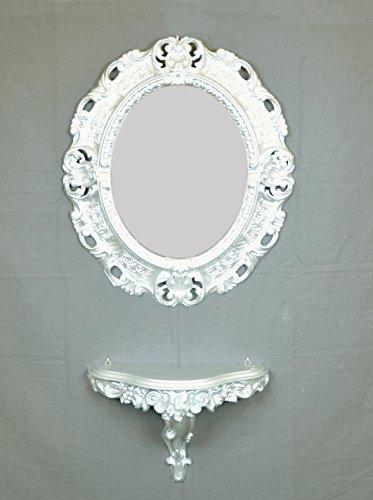 Ideacasa Console étagère + Miroir Argent Argenté Imitation Vintage Style Louis XVI
