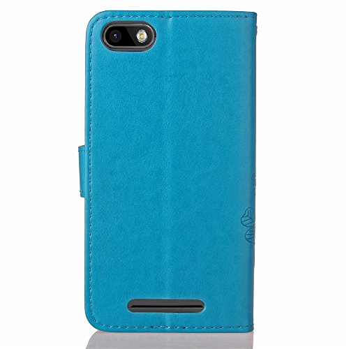 Wkae Case Cover Wiko Lenny 3 Case Cover Lucky Trèfle Embossing Pattern Horizontal Flip Stand Case Solid Couverture TPU Cover pour Wiko Lenny 3 ( Color : Purple , Size : Wiko Lenny3 ) Blue