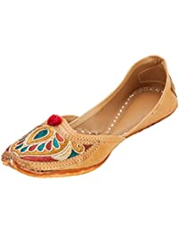 Footrendz Women's Ethnic Embroidered Faux Leather Shoe