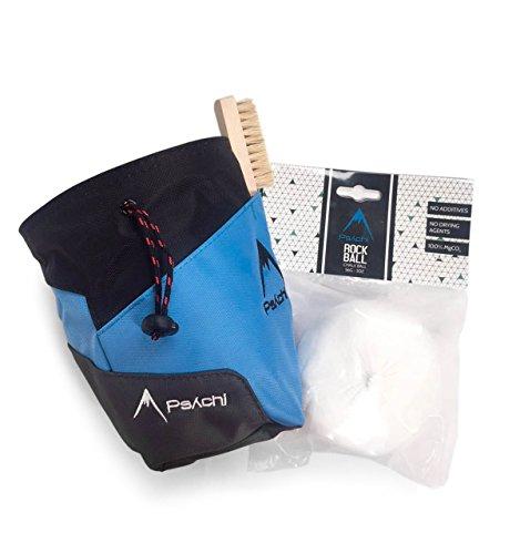 Psychi Premium-Kreidebeutel, Starter-Pack für Bouldern/Klettern, mit Taillen-Gürtel, Kreide-Ball und Bürste., blau