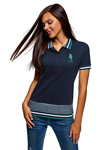 oodji Ultra Damen Pique-Poloshirt mit Stickerei, Blau, DE 42 / EU 44 / XL