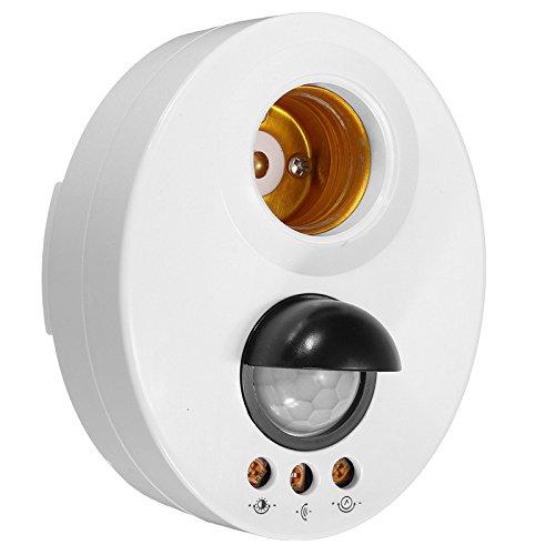 elegantstunning Infrarot Motion PIR Sensor, einstellbare Verzögerung LED Licht Lampe Halter Schalter - Weiß -