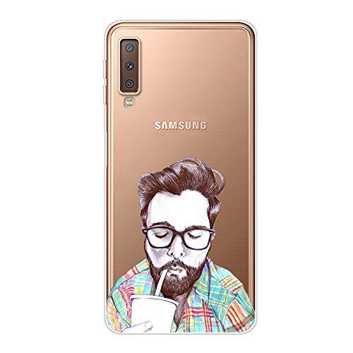 Aksuo Funda For Samsung Galaxy A7 2018 , TPU Anti-Rasguño Anti-Golpes Cover Protectora Transparente Claro Caso Slim Silicona Case - El Sr. Barba Bebe Soda