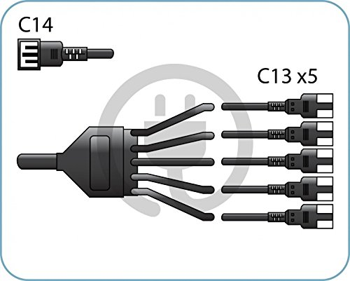Special/professional splitter/ black power cord C14/ 5xC13 /10A 250V/ 2.0 m (Splitter Cord Pc Power)