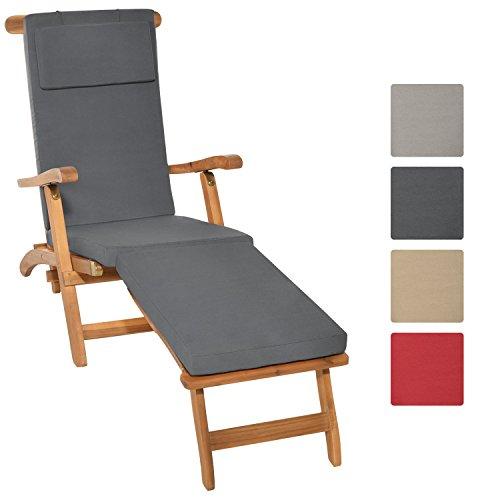 Gartenmöbel Deck (Beautissu Auflage für Deckchair LoftLux DC 175x45x5cm Luxus Polster-Auflage Liege-Stuhl - Bezug abnehmbar Graphit-Grau)