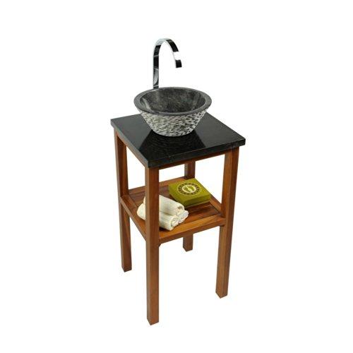 wohnfreuden Waschtisch Teakholz Unterschrank lasiert für Naturstein Waschbecken SMINI mit Steinplatte 40x40x80cm