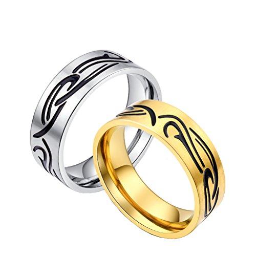 HIJONES Herren Edelstahl Wolkenmuster Form Ring Gold, Vintage -