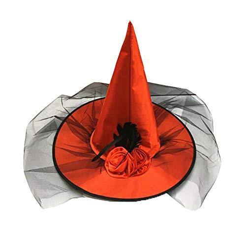 XQshop Ladies Adult Rose Mesh Witch Hat Halloween Fancy Hat Black (Black Rose Hexe Kostüm)